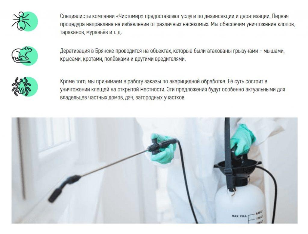Фото Посадочная страница для клининговой компании Чистомир